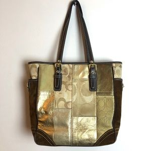 Coach Bags - COACH Holiday Brown + Gold Patchwork Tote
